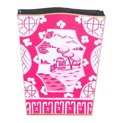 Canton in Pink Wastebasket - Add a little bit of Japan to any room you want to brighten with is Asian style pink metal wastebasket. You will almost smell the cherry blossoms!