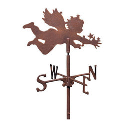 Cherub Garden Weathervane - Give your garden a celestial touch with a starry, spritely figure, captured in mid flight and covered in tiny stars. This inspiring weathervane brings cheer to your yard and, thanks to weather-resistant materials, will do so for years to come.
