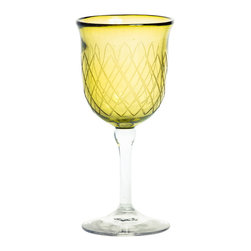 Amoretti Brothers - Amoretti Brothers Water Glass, Hand-Engraved Set of 6, Green - Hand-engraved high-bowl water glass. Mouth-blown recycled glass. Great design with net d̩cor. Exclusive by Amoretti Brothers. Lead free.
