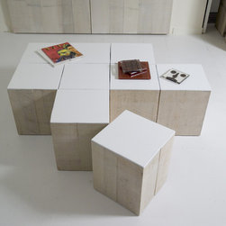 "Crossword Coffee Table cubes - Crossword Coffee table Cubes can be used and moved anywhere as a convenient surface. White washed wood sides & gloss top surface. 12""wx12""dx15""h."