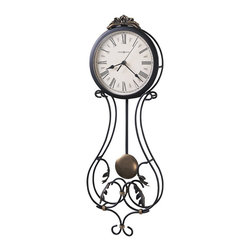 Howard Miller - Howard Miller Paulina Quartz Wall Clock - Howard Miller - Wall Clocks - 625296 - This contemporary wall clock is a unique accent and a means of fostering a certain charm in your living space. Distinguished by its wrought-iron scroll work with decorative leaves and cast crown with gold highlights, the Paulina has an effortless charm to it. An antique gold pendulum bob and convex acrylic dial glass crystal join the reliable timekeeping of quartz movement to complete the look and appeal of the Paulina Quartz Wall Clock.