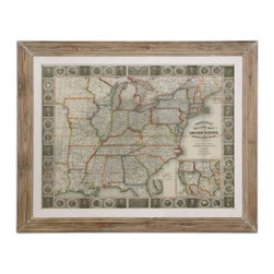Uttermost - Uttermost Travellers Guide To The US Framed Art - Reclaimed wood look with heavy taupe wash. Oatmeal linen liner under glass. Print is accented by an oatmeal linen liner then surrounded by a reclaimed wood-look frame with a heavy taupe wash. Print is under glass.