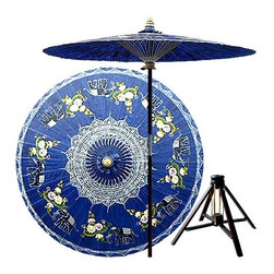 Oriental Unlimted - Asian Elephants Patio Umbrella in China Sea B - Includes Bamboo stand. Handcrafted and hand-painted by master artisans. 100% Waterproof and extremely durable. Umbrella shade can be set at 2 different heights, 1 for maximum shade coverage and the other for a better view of the shade. An optional base, which secures the umbrella rod and shade against strong winds and rain. Patio umbrella rod and base is constructed of stained oak hardwood for a rich look and durable design. Umbrella shade is made of oil-treated cotton. Minimal assembly required. Canopy: 76 in. D x 84 in. HThis magnificent patio umbrella highlights a circle of Asian elephants, which symbolize strength, power and wisdom. Lovingly hand-made in Thailand, where the elephant is the national symbol, this umbrella is the perfect way to enhance any outdoor area.