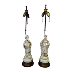 Pre-owned Vintage Asian Man & Woman Lamps - A Pair - A pair of ceramic lamps: one male and one female with gold detailing and reticulated metal bases. The lamps are newly rewired for U.S. use, and in working condition. There is some loss of gold paint on the ceramic parts.