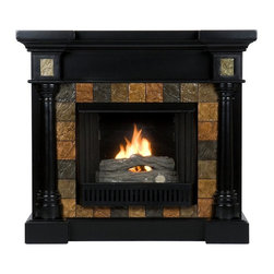 Holly & Martin - Carrington 44.5 in. Convertible Gel Fireplace - Includes metal firebox, cement log, faux coal cinder and screen kit. Fuel not included. Ventless. Faux slate front. Rounded columns on either side of firebox are topped off with square tiles. Beautiful media room accent. Holds upto three cans of gel fuel simultaneously for full bodied 6 - 8 in. flame. Each can of FireGlo produces upto 3000 BTUs. Metal firebox withstands more than 9000 BTUs to safely handle gel fuel. Emits no smoke, odor and ash. Supplements heat to save on energy consumption. FireGlo gel fuel snaps and crackles like real wood. Mantel supports upto 85 lbs.. Accommodates upto 47 in. flat screen TV. Made from poplar wood, MDF and resin. Assembly required. Flat wall: 44.5 in. W x 16.75 in. D x 40.25 in. H (127 lbs.). Corner: 44.5 in. W x 27.75 in. D x 40.25 in. H (127 lbs.)None of the mess of a wood burning fireplace. Beautifully rustic, this antique ivory fireplace exudes character and style. This versatile fireplace is complete with a collapsible panel, making it easy to place against a flat wall or in a corner. Requiring no electrician or contractor for installation allows instant remodeling without the usual mess or expense. In addition to your living room or bedroom, try moving this fireplace to your dining room for romantic dinners or complement your media room with a ventless fireplace below your flat screen television. Use this great functional fireplace to make your home a more welcoming environment.