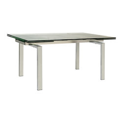 Torino Expanding Dining Table - This expandable dining table features a fresh looking Parson style design. Easy expansion allows the table to seat from 6-10 comfortably. The table features a linear metal frame, tempered glass, and easy expanding sections at both ends.
