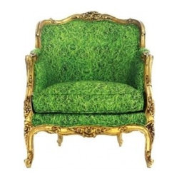 Green Chair - David and Edward - The artist indulges in the ultimate recycling program by finding one-of-a-kind French and Italian antique chairs and beds, then reupholstering them in eye-popping prints.