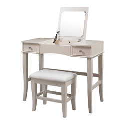Linon - Linon Jackson Vanity Set - Elegant and feminine,the Linon Jackson vanity set gives you copious room to hide away your grooming tools. The flip top opens to a mirror and additional storage space,while the soft cream color suits any color scheme.