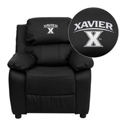 "Flash Furniture - Xavier University Crusaders Black Leather Kids Recliner with Storage Arms - Get young kids in the college spirit with this embroidered college recliner. Kids will now be able to enjoy the comfort that adults experience with a comfortable recliner that was made just for them! This chair features a strong wood frame with soft foam and then enveloped in durable leather upholstery for your active child. This petite sized recliner features storage arms so kids can store items away and retrieve at their convenience. Xavier University Embroidered Kids Recliner; Embroidered Applique on Headrest; Overstuffed Padding for Comfort; Easy to Clean Upholstery with Damp Cloth; Flip-Up Storage Arms; Storage Arm Size: 3.25""W x 6""D x 11""H; Solid Hardwood Frame; Raised Black Plastic Feet; Intended use for Children Ages 3-9; 90 lb. Weight Limit; Black LeatherSoft Upholstery; LeatherSoft is leather and polyurethane for added Softness and Durability; CA117 Fire Retardant Foam; Safety Feature: Will not recline unless child is in seated position and pulls ottoman 1"" out and then reclines; Overall dimensions: 25""W x 26"" - 39""D x 28""H"