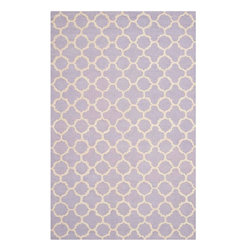 """Safavieh - Hugo Hand Tufted Rug, Lavander / Ivory 2'6"""" X 4' - Construction Method: Hand Tufted. Country of Origin: India. Care Instructions: Vacuum Regularly To Prevent Dust And Crumbs From Settling Into The Roots Of The Fibers. Avoid Direct And Continuous Exposure To Sunlight. Use Rug Protectors Under The Legs Of Heavy Furniture To Avoid Flattening Piles. Do Not Pull Loose Ends; Clip Them With Scissors To Remove. Turn Carpet Occasionally To Equalize Wear. Remove Spills Immediately. Bring classic style to your bedroom, living room, or home office with a richly-dimensional Safavieh Cambridge Rug. Artfully hand-tufted, these plush wool area rugs are crafted with plush and loop textures to highlight timeless motifs updated for today's homes in fashion colors."""
