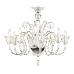 """Inviting Home - La Scala Crystal Glass Chandelier - La Scala clear crystal glass chandelier; 31"""" x 28""""H (8 lights); assembly required; 8 light chandelier made of hand-blown smooth crystal glass; all metal parts are chromium plated; Preciosa genuine Czech crystal; * ready to ship in 2 to 3 weeks; * assembly required; The design of all crystal glass chandeliers are based on the combination of classical shapes and modern decorations. Plane shapes in clear crystal or other colors mingle with decorative elements such us straight cuts optic or spun crystal glass. As fixed stars among lighting fixtures these types of chandeliers become timeless sources of illumination suitable for various interiors. These chandeliers are manufactured using oxygen fuel technology. Only few manufacturers in Europe that use oxygen fuel technology. This allows for better control and manage the preparation process of glass. The result is impeccably pure glass of highest quality with minimal amount of visual irregularities. Every component passes thorough strict internal Quality Control processes. Highest quality European production with certified standards. UL approved - dry location; hardwire; 8x E12/14 - 40W bulbs; bulbs not included. 3 to 4 feet chain drop provided. Hand crafted in Czech Republic."""