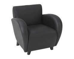 Office Star - OSP Furniture Lounge Seating SL2431EC3 Eleganza - Black Eco Leather Club Chair - Eleganza - black eco leather club chair with mahogany finish legs. Rated for 300 lbs. of distributed weight. Shipped assembled.