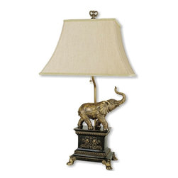 ORE International - Table Lamp w Elephant Accent Base in Antique - Requires 1 60W bulb (bulb not included). UL listed. Wipe clean with a dry cloth. Angular shaped shade. Mocha linen shade . Polynesian base . 14 in. L x 17 in. W x 29 in. H (14 lbs.)This lamp will brighten your room and perhaps bring good fortune.With his trunk raised for good luck, this elephant adorned table lamp will bring an exotic, global inspired spirit to your home's decor.