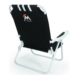 "Picnic Time - Miami Marlins Monaco Beach Chair in Black - The Monaco Beach Chair is the lightweight, portable chair that provides comfortable seating on the go. It features a 34"" reclining seat back with a 19.5"" seat, and sits 11"" off the ground. Made of durable polyester on an aluminum frame, the Monaco Beach Chair features six chair back positions and an integrated cup holder in the armrest. Convenient backpack straps free your hands so you can carry other items to your destination. Rest and relaxation come easy in the Monaco Beach Chair!; Decoration: Digital Print"