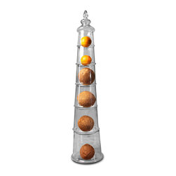 Kathy Kuo Home - Piza 6 Piece Stackable Clear Glass Candy Jars - A tower of treats awaits with these six stacking glass candy jars. Gorgeously unique, these jars create a tall centerpiece for any table. The clear or amber chambers stand alone or together to add a whimsical display for your desserts.