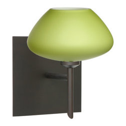 Besa Lighting - Besa Lighting 1SW-541035-SQ Peri 1 Light Halogen Bathroom Sconce - The Peri is a compact handcrafted glass, softly radiused to fit gracefully into contemporary spaces. Our Lime glass is a chartreuse colored glass with an opal inner layer. The yellow-green glow has a low key harmonious display that exudes a warm mood. When lit the glass is vitalizing as well as stylish. The smooth satin finish on the outer layer is a result of an extensive etching process. This blown glass is handcrafted by a skilled artisan, utilizing century-old techniques passed down from generation to generation. The mini sconce is equipped with a decorative lamp holder mounted to either a low profile round or square canopy.Features: