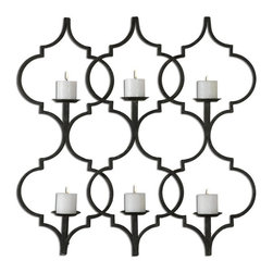 "Uttermost - Uttermost 13998 Zakaria Metal Candle Holder Wall Sconce - Hand forged metal finished in aged black with taupe gray accents. Distressed, 3"" beige candles included."