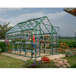 Poly-Tex, Inc. - Palram Snap & Grow 8' x 16' Hobby Greenhouse - Green - The Snap & Grow 8' x 16' Green Frame Hobby Greenhouse features the SmartLock connector system. Heavy duty aluminum frames assemble easily without a lot of hardware. Crystal-clear SnapGlas panels slide right into the frame, lock into place and are virtually unbreakable. The 8' wide greenhouse offers double hinged doors. You can later expand your Snap & Grow in 4' increments to build the hobby greenhouse to suit your individual needs. Aluminum framework powder coated green, clear single layer polycarbonate panels, swinging front doors, rain gutter and three roof vents are standard features of the Snap & Grow. Has an easy to use set up manual. Available in standard silver or a more natural green powder coat. Make any backyard a sanctuary-in a snap!