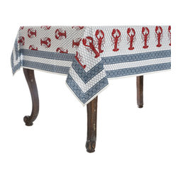 Origin Crafts - Lobster shack tablecloth - Lobster Shack Tablecloth 100% Cotton, block printed. Machine wash, tumble dry low, warm iron as needed. Made in India. Dimensions (in): Square - 55x55 - Seats 2?4 Rectangle - 60x90 - Seats 4?6 Rectangle - 60x120 - Seats 8?10 By Pomegranate Inc. - Pomegranate's vivid prints and wonderfully refreshing