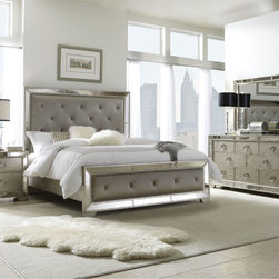 None - Celine 5-piece Mirrored and Upholstered Tufted King-size Bedroom Set - Enhance your home decor with this elegant Celine 5-piece mirrored and upholstered tufted king-size bedroom set. This set features mirrored panels and includes a king-size bed, two nightstands, one dresser and one mirror.