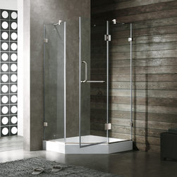 Vigo - VIGO VG6062BNCL38W Frameless Neo-Angle Shower Enclosure - Both dramatic and space-saving, the VIGO frameless neo-angle shower enclosure creates a beautiful focal point for your bathroom.