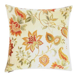 "Canaan - 24"" x 24"" Veranda Cream Floral Print Throw Pillow with A Feather/Down Insert - Veranda cream floral print throw pillow with a feather/down insert and zippered removable cover. These pillows feature a zippered removable 24"" x 24"" cover with a feather/down insert. Measures 24"" x 24"". These are custom made in the U.S.A and take 4-6 weeks lead time for production."