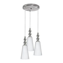 Dainolite - Dainolite 1038-4RP-SC 3LT Round Glass PendantDinette Collection - 3 Light Round Pendant, Satin Chrome Finish, Frosted White Glass