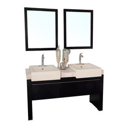 Bellaterra Home - 57.75  in Double sink vanity-Wood-black - The unique styling gives this modern vanity a beautiful appearance, very dramatic, allowing the overall design and beauty to make an incredible statement in your bathroom.