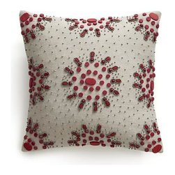 """Jewel Berry 12"""" Pillow with Feather-Down Insert - Silvery beads and jewel-like berry baubles dot neutral linen-cotton pillow in a handcrafted flurry of sparkle and snowflake clusters. Pillow reverses to solid neutral. Our decorative pillows include your choice of a plush feather-down or lofty down-alternative insert at no extra cost."""