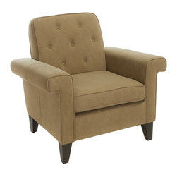 Great Deal Furniture - Menlo Camel Fabric Upholstered Club Chair - When looking for a club chair that will suit your unique taste, look no further than the Menlo club chair. This chair features square edges that give it a modern feel. The backrest is button tufted, and the armrests square edges protrude for added width and comfort. The combination of modern design and classic elements, ensures that you will enjoy the look and feel of this piece.