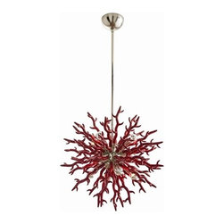 Diallo Small Chandelier by Arteriors Home - Coral inspired, this 8-light red lacquered, resin chandelier is as dramatic as it is unique. The satin gold center sphere gives it just the right amount of bling. Shown with silver tip globe bulbs.