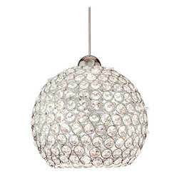 WAC Lighting - WAC Lighting MP-LED335 LED Roxy Monopoint Pendant - Canopy Included - Traditional / Classic Canopy Mount LED Pendant from the Roxy CollectionLike a blast from the past, this dazzling canopy mount LED pendant from the Roxy series fixtures will add retro styling and flair to your home. Reminiscent of a retro disco ball, this flashy fixture is formed with faceted crystal octagons in a delicate chrome framework. Featuring an impossibly small 6 watt LED lamp, this fixture blends retro styling and modern technology.WAC lighting's collection of QUICK CONNECT fixtures includes hundreds of choices to suite your every need. QUICK CONNECT fixtures are available in a wide range of finishes and glass colors to accommodate many design concepts.Features: