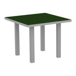 POLYWOOD® AT36F Euro 36 in. Square Dining Table with Aluminum Frame