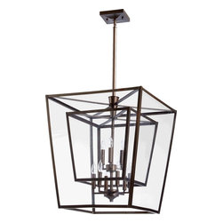 Joshua Marshal - Nine Light Oiled Bronze Clear Glass Foyer Hall Pendant - Nine Light Oiled Bronze Clear Glass Foyer Hall Pendant