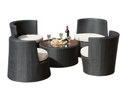 Great Deal Furniture - Valencia Outdoor Stacking Outddor Set - NO TABLE TOP GLASS INCLUDED