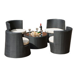 Great Deal Furniture - Valencia Outdoor Stacking Sushi Sofa Set - No table top glass included: