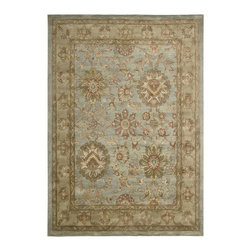 """Nourison - Nourison Jaipur Aqua Traditional 2'4"""" x 8' Runner Rug by RugLots - Searching for a timeless and traditionally styled area rug in rich earth tones with classic sophistication? Look no further than Nourisons's Jaipur Collection for all that and more. The collection features an extensive collection of traditional designs using an herbal wash process to produce a silk like sheen and the elegant look of a priceless antique. Add personality and style to any area of your home with one of these enduring beauties. 100% wool. Hand tufted in India."""