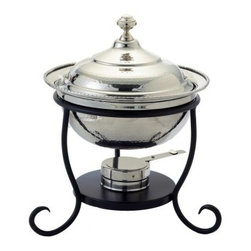 Old Dutch 681 Round Stainless Steel Chafing Dish - Keep your food warm and delicious during your next get-together with the Old Dutch 681 Round Stainless Steel Chafing Dish. Crafted from durable stainless steel polished to a brilliant gleam this oven-safe chafing dish has a deep round shape and 3-quart capacity. Perfect for your small entrees and side dishes it features an elegant domed cover accented with a round metal knob. Great for dinner parties potlucks family gatherings and holiday meals this round chafing dish features a black metal stand with curved legs. Lacquered to resist tarnishing it features an adjustable gel-fuel holder to keep your food at just the right serving temperature.About Old Dutch InternationalFamous for their copperware Old Dutch International Ltd. has been supplying the best in imported housewares and giftware to fine retailers throughout America since 1950. They offer a large assortment of housewares including bakers racks trivets and pot racks in materials like chrome colorful enamel and stainless steel. Other product lines include wine racks serving trays specialty cookware clocks and other home accessories. Old Dutch warehouses and distributes their products from a 30 000 square foot facility in Saddle Brook N.J.
