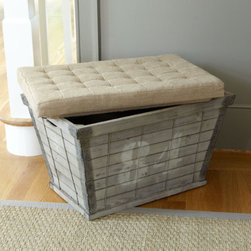 Wood Plank Storage Bench - This great rustic bench with lots of storage space has a great look and size.