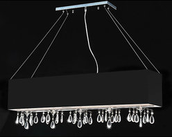 Otis Designs - Rectangular Black Chrome 5-light Crystal Chandelier - This modern rectangular crystal chandelier is a trendy alternative to the familiar round fixtures found in many homes. Bold black chrome and dazzling pieces of crystal ensure that this beautiful chandelier is not ignored by visitors.