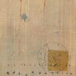 Intersections III - Original Collagraph Print - This print with India ink is an interior designer favorite in our online gallery. Subtle fields of cool, calm greyish green and yellow ochre create depth in this limited edition work.
