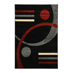 Ottomanson - Black Contemporary Abstract Design Rug - Moderno Collection offers a wide variety of machine made modern design hand-carved area rugs with high, durable, stain-resistant pile in trendy colors.