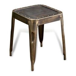 Interlude Home - Interlude Home Prasat Iron Stool - This Interlude Home Stool is crafted from Iron and finished in Antique Brass.  Overall size is:  14 in. W  x  14 in. D x 18 in. H.