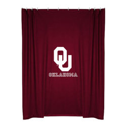 Sports Coverage - NCAA Oklahoma Sooners College Bathroom Accent Shower Curtain - Features: