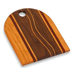 "Picnic Plus - Becca Cheese Cutting Board, Wood - Picnic Plus Becca Cheese Board, Cutting Board, Made In The USA, Wood. Color/Design: Wood; Beautifully handmade in the USA; Individually handmade by a skilled American craftsman; Designed and crafted from a variety of hardwoods such as Cherry, Maple, Walnut, Oak, Paduak, Ash and Purpleheart; Due to the construction and design of each board and the natural wood grain no two boards will be exactly alike; Support our local craftsman with your purchase of this hand crafted board; Hand wash only. Dimensions: 12 1/4""W x 10 1/4""l x 1""H"