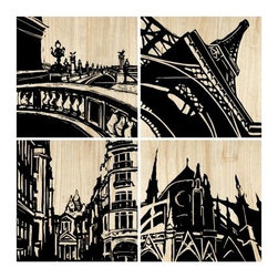 Paris City Panels - Set of 4 - 18W x 18H in. ea. - Add elegant architectural designs with the Paris City Panels - Set of 4 - 18W x 18H in. ea. Each piece in this contemporary set is composed of hand carved, ultra-durable hardwood raised panels drenched in a matte black finish. A magnificent set to add to any office or living space.