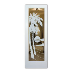 """Interior Glass Doors - Frosted Glass - Palm Sunset - CUSTOMIZE YOUR INTERIOR GLASS DOOR!  Interior glass doors or glass door inserts.  .Block the view, but brighten the look with a beautiful interior glass door featuring a custom frosted glass design by Sans Soucie!  ship for just $99 to most states, $159 to some East coast regions, custom packed and fully insured with a 1-4 day transit time.  Available any size, as interior door glass insert only or pre-installed in an interior door frame, with 8 wood types available.  ETA will vary 3-8 weeks depending on glass & door type........  Select from dozens of sandblast etched obscure glass designs!  Sans Soucie creates their interior glass door designs thru sandblasting the glass in different ways which create not only different levels of privacy, but different levels in price.  Bathroom doors, laundry room doors and glass pantry doors with frosted glass designs by Sans Soucie become the conversation piece of any room.   Choose from the highest quality and largest selection of frosted decorative glass interior doors available anywhere!   The """"same design, done different"""" - with no limit to design, there's something for every decor, regardless of style.  Inside our fun, easy to use online Glass and Door Designer at sanssoucie.com, you'll get instant pricing on everything as YOU customize your door and the glass, just the way YOU want it, to compliment and coordinate with your decor.   When you're all finished designing, you can place your order right there online!  Glass and doors ship worldwide, custom packed in-house, fully insured via UPS Freight.   Glass is sandblast frosted or etched and bathroom door designs are available in 3 effects:   Solid frost, 2D surface etched or 3D carved. Visit our site to learn more!"""