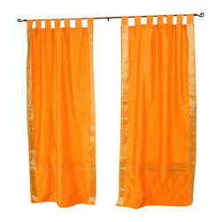 Indian Selections - Pair of Pumpkin Tab Top Sheer Sari Curtains, 60 X 108 In. - Size of each curtain: 60 Inches wide X 108 Inches drop. Sizing Note: The curtain has a seam in the middle to allow for the wider length