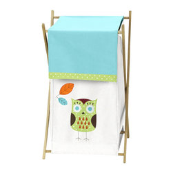 Sweet Jojo Designs - Hooty Turquoise and Lime Laundry Hamper by Sweet Jojo Designs - The Hooty Turquoise and Lime Laundry Hamper by Sweet Jojo Designs, along with the  bedding accessories.
