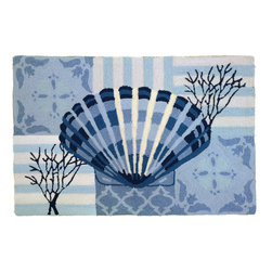 Homefires - Clam Shell & Coral On Blue Rug - The bucket of shells that you collected as a kid are now a permanent part of your home with this machine washable area rug. Contrasting patterns provide a mature touch to your childhood memories of a day at the beach.